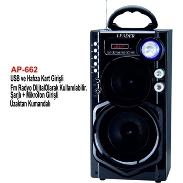 Leaders AP-662 Usb/Sd/Fm/Mikrofon Girişli Uzaktan Kumandalı Şarjlı, Taşınabilir Ses Sistemi Renkli
